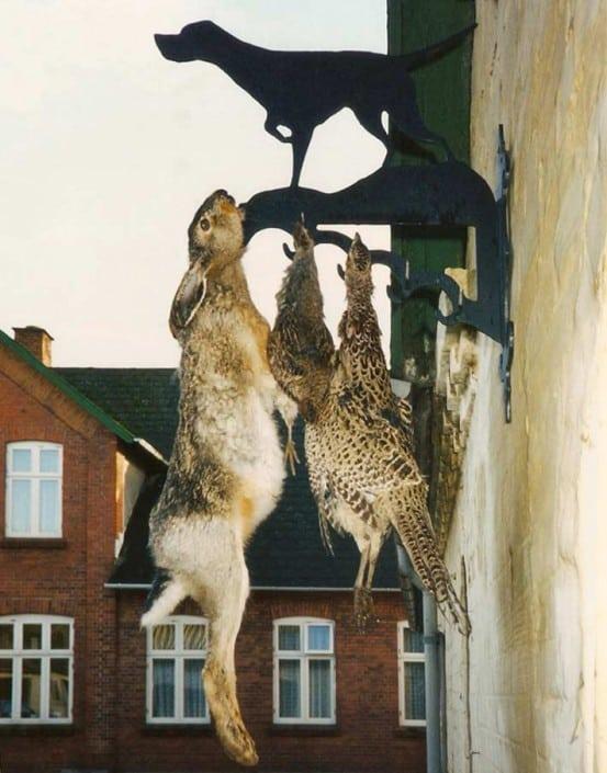 Vildtkrog på Skovsgård med en hare, en agerhøne og en fasan